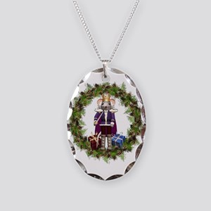 Mouse King Nutcracker Wreath Necklace Oval Charm